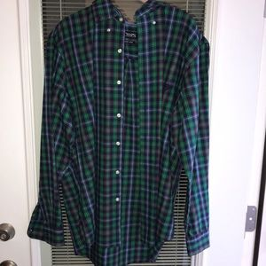 Chaps green and blue button down